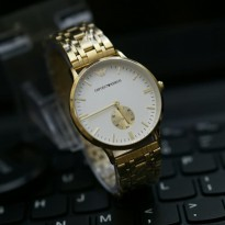 EMPORIO ARMANI BESAR DETIK BAWAH ANTI AIR GOLD COVER WHITE