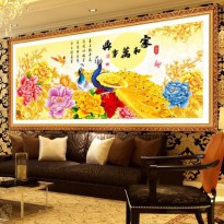 DIY Diamond Painting 5D. Merak bunga Gold (100x40 CM). D68