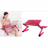 Meja Laptop Portable Aluminium with cooler big fan mousepad