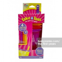 The First Years Take & Toss Straw Cup 4 Pack 10oz/296ml - Girls