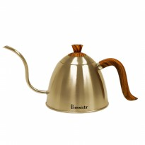 Brewista - Stovetop Gooseneck Kettle With Wood Grain Handle And Lid 700ml BV382607STWG Gold