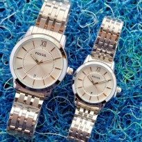 FOSSIL COUPLE TANGGAL SILVER COVER WHITE