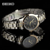 SEIKO LADIES DETIK BAWAH ANTI AIR SILVER GOLD (BLACK)