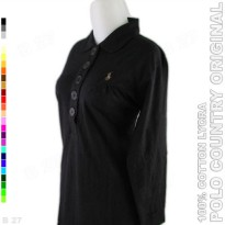 POLO COUNTRY Original C16-11 Kaos Polo Wanita Cotton Lycra Hitam