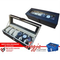 BLACK CREAM WATCH BOX ORGANIZER ISI 6 (Kotak Jam Tangan Untuk 6 pcs)
