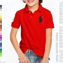 POLO COUNTRY Original C4-25 Kaos Polo Anak Cotton Lycra Merah Cabe