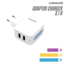 Delcell Adaptor Charger Dual USB Port 3.1A