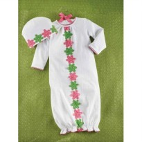 Mudpie Daisy Crochet Sleep Gown Set With Hat #1112123