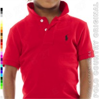 POLO COUNTRY Original C7-25 Kaos Polo Anak Cotton Lycra Merah Cabe