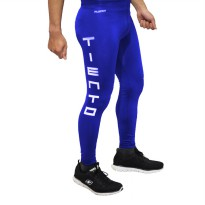 Tiento Baselayer Compression Celana Olahraga Tight Legging Long Pants Typotype Blue Original
