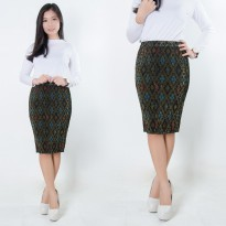 SB Collection Rok Plisket Latif  Pendek Midi Batik Jumbo Wanita