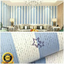 WALLPAPER STICKER 10m Garis Garis Blue & White