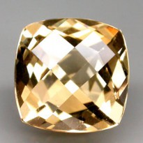 [BL133] Clean Antique CheckerBord Cut 5.5ct 11x11x7.5mm Natural Unheated Golden Yellow Beryl, Brazil