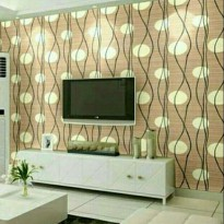 WALLPAPER STICKER 10m Motif Polkadot Dasar Coklat