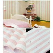 Wallpaper Sticker 10m Motif Garis Garis Pink & White