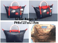 Tas Wanita Authentic Longchamp Cuir Badges Medium Navy And Red