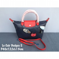 Tas Wanita Authentic Longchamp Cuir Badges Small Navy Red