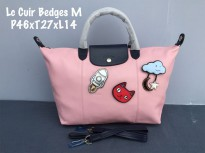Tas Wanita Authentic Longchamp Cuir Badges Medium Pink And Black