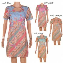 Midi Dress Motif Batik Warna Soft ~ Angelina