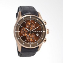 Alain Delon Dual Time Stainless Steel Leather Jam Tangan Pria  Brown Rosegold AD4051542C
