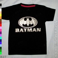 T-Shirt Distro D1-11 Kaos Anak Cotton Karakter Batman - Hitam
