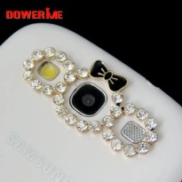 [globalbuy] DOWER ME brand 3D Alloy Stickers for Phone Crystal Wreath Womens Mobile Phone /5424987