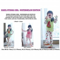 KAZEL PIYAMA GIRL SETELAN OBLONG CELANA PANJANG 3IN1 : WATERMELON EDITION - Size XL & XXL