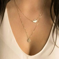 Kalung Korea Double Layer Necklace Little Gold Swallow