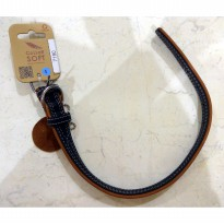 Kalung Leather Black Top Collar Soft (30-39 cm x 20mm)
