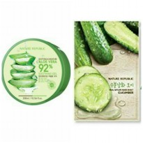 Nature Republic Soothing & Moisture Aloe Vera 92% + Sheet Mask Cucumber (1pcs)