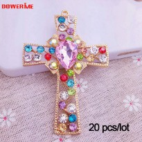 [globalbuy] DOWER ME Brand 20 Pcs/lot 3D Alloy Stickers for Phone Crystal Alloy Crosses Co/5424900