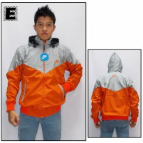 Jaket Parasut Wind Breaker Kombinasi Abu - Orange