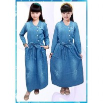 Bananana Ribbon Ripped Button Long Dress Anak
