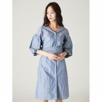 8SECONDS [Linen Blended] V-neck Ribbon Tie Stripe Shirt Dress - Blue