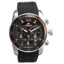 Chronoforce 5155MS Jam Tangan Pria Rubber Strap - Hitam Ring Silver Plat Hitam Orange
