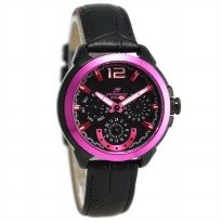 Chronoforce 5178-2LB Jam Tangan Wanita Leather Strap - Hitam Ring Pink Plat Hitam