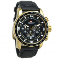 Chronoforce 5206MGB Jam Tangan Pria Leather Strap - Hitam Ring Gold Plat Hitam
