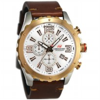 Chronoforce 5235MSG Jam Tangan Pria Leather Strap -  Coklat Silver Ring Rosegold Plat Putih