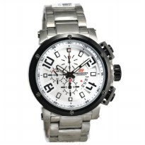 Chronoforce 5228MS Jam Tangan Pria Stainless Steel - Silver Ring Hitam Plat Putih