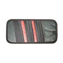 #Interior SIV A-803 Carbon CD Board Organizer and Sunvisor Mobil - Red Black