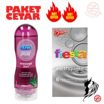 PAKET CETAR ( Durex play massage 2 in 1 + Fiesta earthquake + ring )