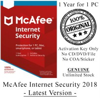 McAFEE Internet Security 2018 - 1 Year for 1 PC - Genuine