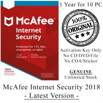 McAFEE Internet Security 2018 - 1 Year for 10 PC - Genuine