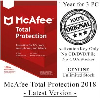 McAFEE Total Protection 2018 - 1 Year for 3 PC - Genuine