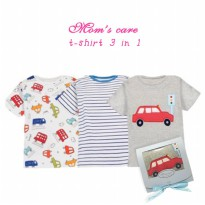 T-Shirt Pendek 3in1 Boy Mom's Care Car Red