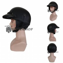 Helm Retro Kasil Chips Kulit Hitam Polos Plus Pet Pendek