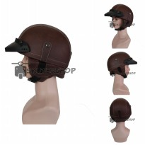 Helm Retro Klasik Chips Kulit Coklat Polos Plus Pet Pendek