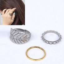 Leaf Round Cube Ring - Silver