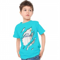 Kaos 3D Kids Jersey Real Madrid Home Biru Tosca,Grey,Putih