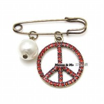 [BROS] 00F835r Korean Fashion Exquisite Retro Peace Sign Brooch General